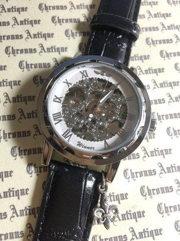 814.手巻きスケルトン腕時計(ホイール白顔銀文字)