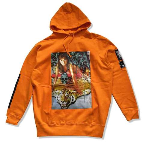 "Sweat hoody ""MAD ESPY MONSTER"" orange"