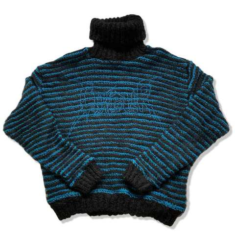 Mohair sweater black&blue
