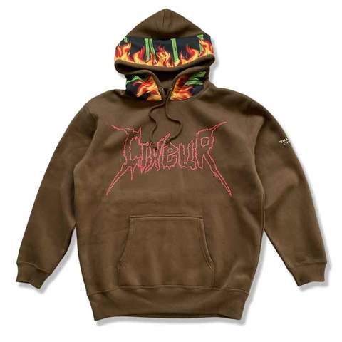 "Sweat hoody ""blame flame"" brown"