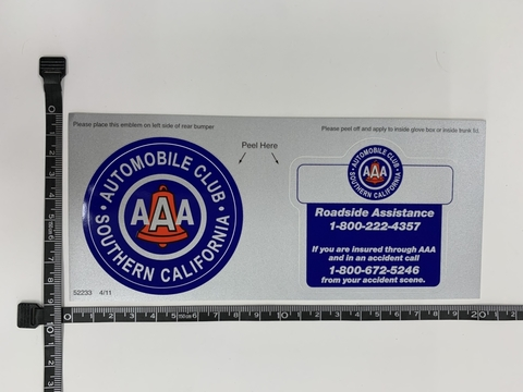 AAA BUMPER STICKER B