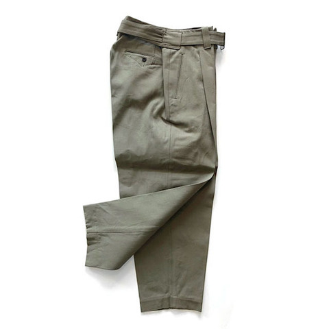 FRENCH ARMY CANVAS BELTED PANTS