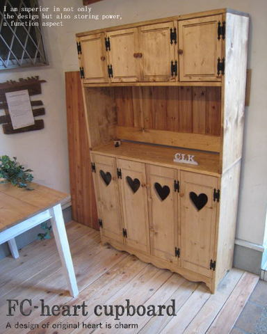カントリー家具,四連ハートのカップボードⅡ!♪食器棚