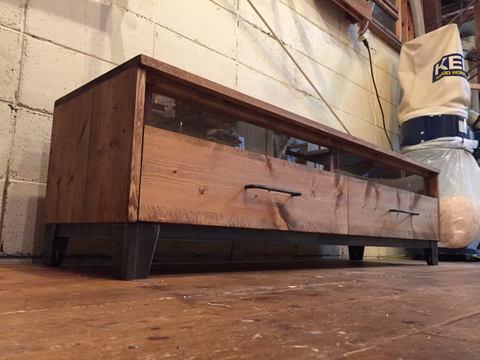 TV Board-150,2dr iron,無垢木,鉄脚,テレビ台