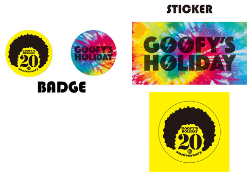 GOOFY'S HOLIDAY 20th ANNIVERSARY BADGE&STICKER SET