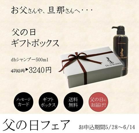 《期間限定/父の日ギフトBOX》■大人紳士の為のdbシャンプー500㎖ボトル (ギフトボックス・メッセージカード付/送料無料)