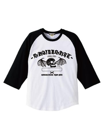 "SKULLSHIT ""Bat Skull"" Raglan Shirts (SKS-461) - ホワイトver."