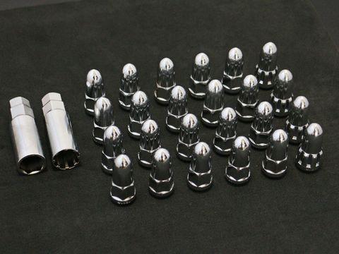 ホイールナット バレット/弾丸型 クローム M12xP1.25 24本セット (ロックナット付き)