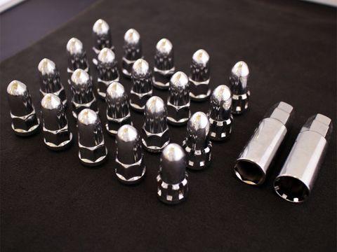 ホイールナット バレット/弾丸型 クローム M12xP1.25 20本セット (ロックナット付き)
