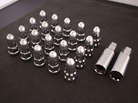 ホイールナット バレット/弾丸型 クローム M12xP1.5 20本セット (ロックナット付き)