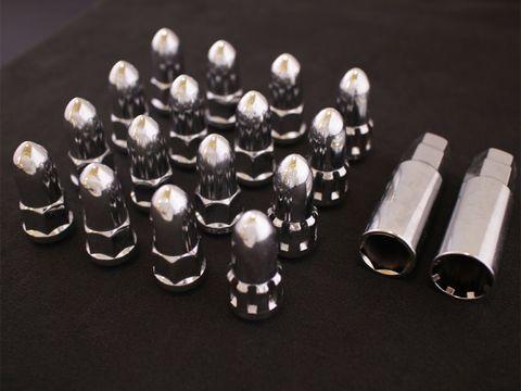 ホイールナット バレット/弾丸型 クローム M12xP1.5 16本セット (ロックナット付き)
