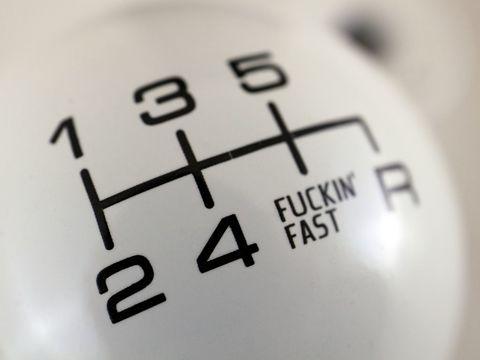 シフトノブ 丸型 日産/三菱/マツダ FUCKIN'FAST ホワイト(ブラック) 6MT