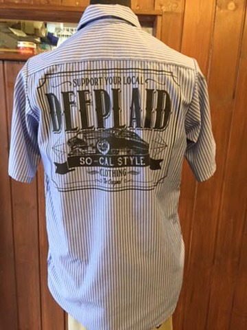 DEEPLAID CLOTHING KUSTOM RIDE S/S STRIPE WORK SHIRTS ディープレイド/6,800円