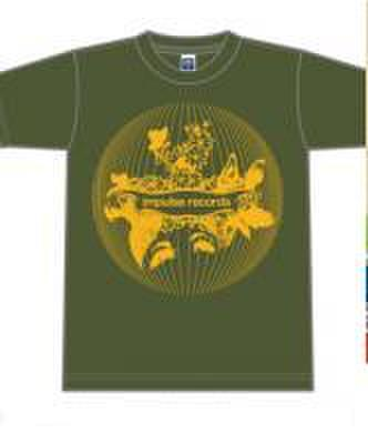 ■Impulse records ロゴTシャツ/カーキxゴールドイエローインク