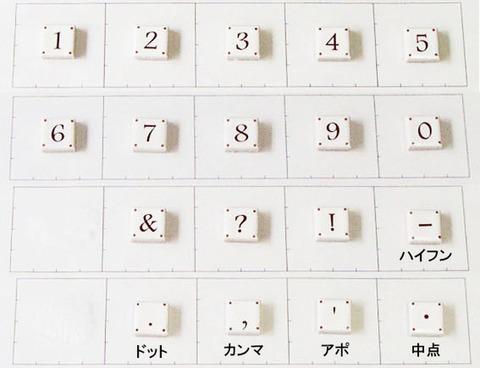 15mm角文字タイル 数字・記号