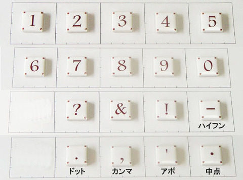 20mm角文字タイル 数字・記号