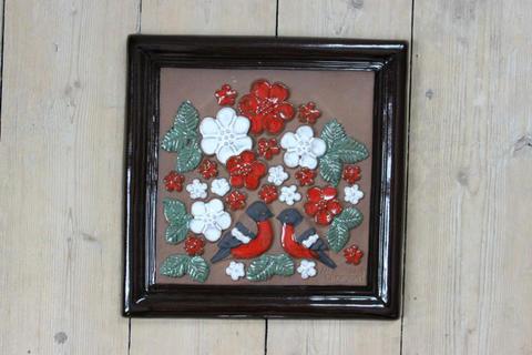 GABRIEL(ガブリエル)お花と鳥の陶板(スクエア)