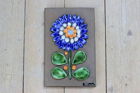 Jie Gantofta(ジィ・ガントフタ)青いお花の陶板(S)