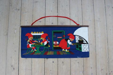 クリスマスのキッチンレトロプリントクロスタペストリー