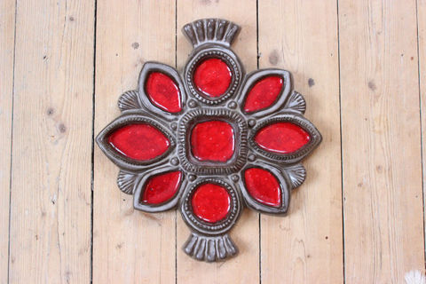 Upsala Ekeby(ウプサラエクビー)赤いのお花の陶板