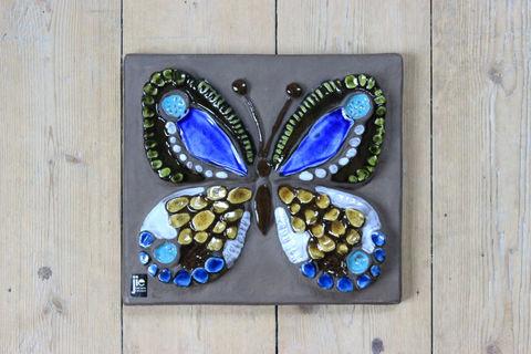 Jie Gantofta(ジィ・ガントフタ)青いチョウチョの陶板(M)
