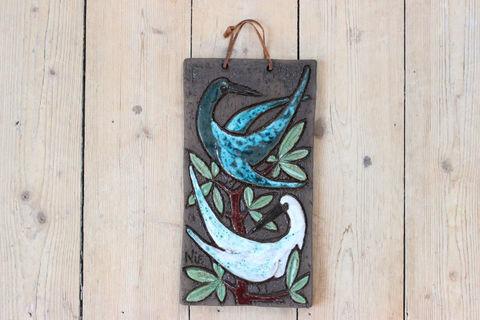 Tilgmans(ティルグマンス)二羽の鳥の陶板(ブルー/白)