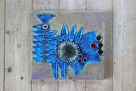 Lisa Larson(リサラーソン)/Vaggplattor 青い鳥の陶板