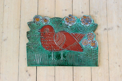Lisa Larson(リサラーソン)/Vaggplattor  Goksparv 赤いスズメの陶板2