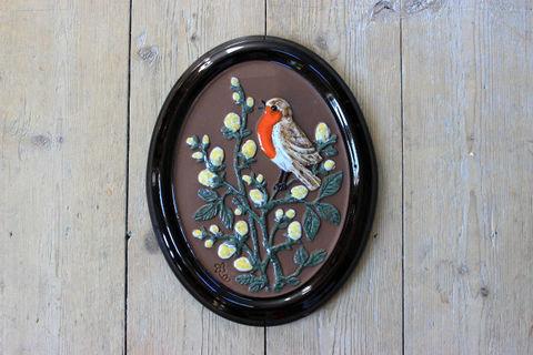 GABRIEL(ガブリエル)野鳥とお花の陶板(M)