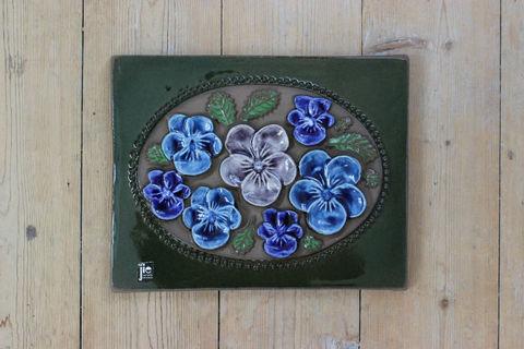 Jie Gantofta(ジィ・ガントフタ)青いお花の陶板(M)