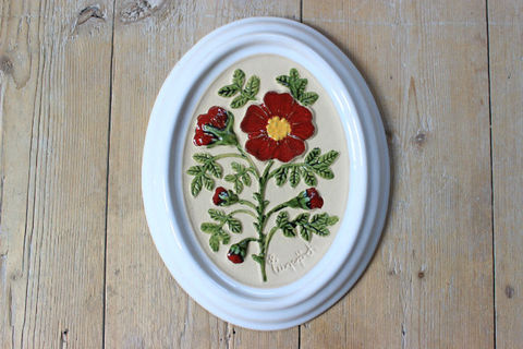 GABRIEL(ガブリエル)赤いお花の陶板(S)