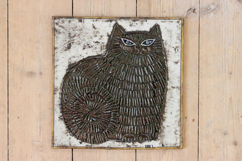 Lisa Larson(リサラーソン)/UNIK/Kat ネコの陶板