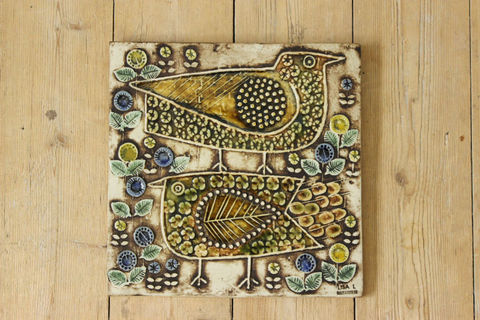 Lisa Larson(リサラーソン)/UNIK/FAGLAR 2羽の鳥の陶板(レアカラー)