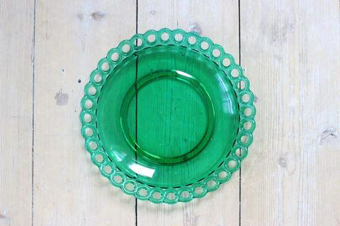 ビンテージガラスのプレート(グリーン)