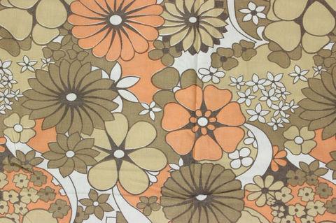 茶色とオレンジの花柄のレトロファブリックデュベカバー/掛け布団カバー(140×189cm)
