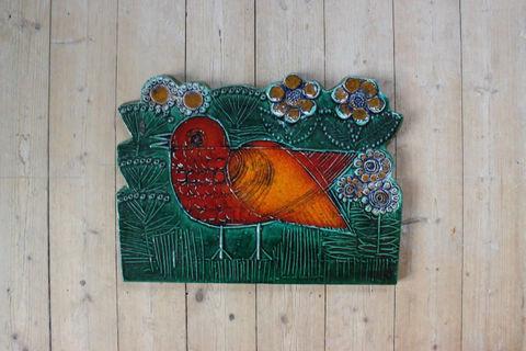 Lisa Larson(リサラーソン)/Vaggplattor  Goksparv 赤いスズメの陶板