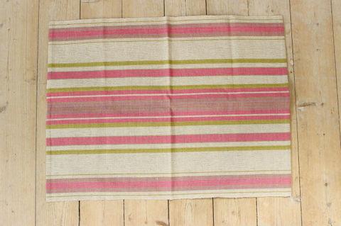 スウェーデンで見つけたピンクのストライプのリネンファブリック(62×47cm)
