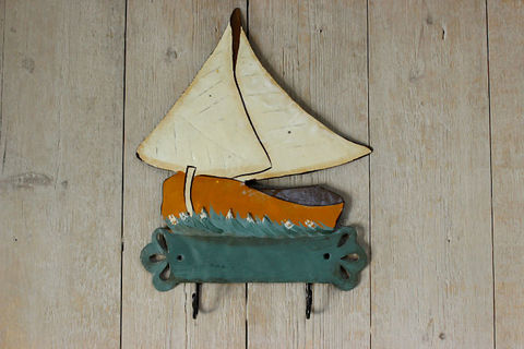 ヨット型のビンテージタオルハンガー(フックタイプ)