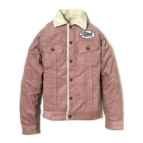 "DUCKTAIL CLOTHING ""RIDER"" CORDUROY BOA JACKET PINK"