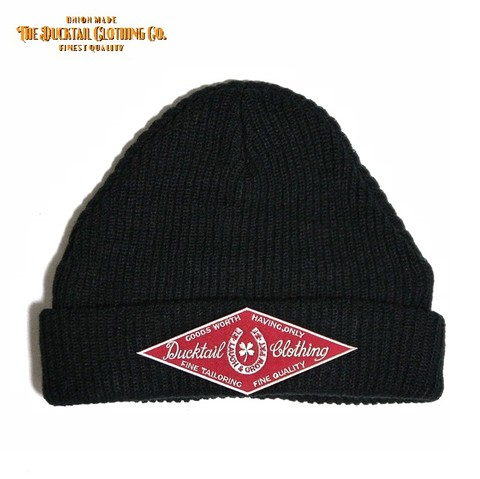 "DUCKTAIL CLOTHING ""HORSESHOE"" KNIT CAP BLACK"