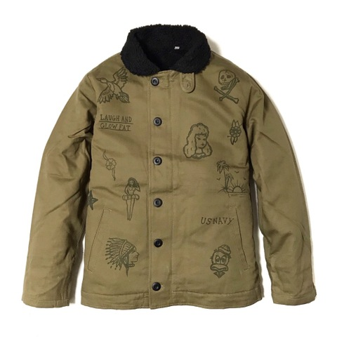 "新作入荷!!DUCKTAIL CLOTHING N-1 DECK JACKET ""LAUGH AND ""GLOW"" FAT"" KHAKI"