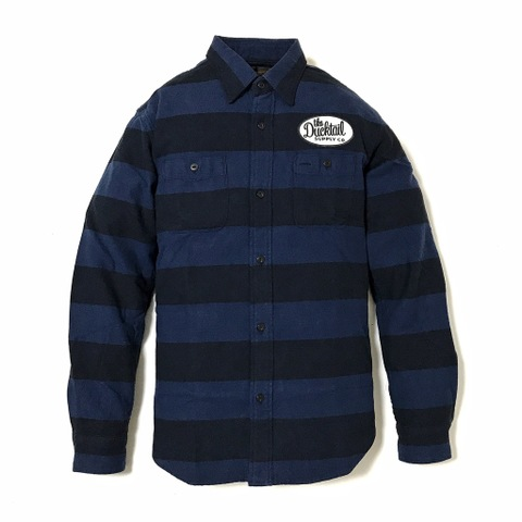 "DUCKTAIL CLOTHING LONG SLEEVE PRISON BORDER FLANNEL SHIRTS ""THE LOWER"" NAVY"