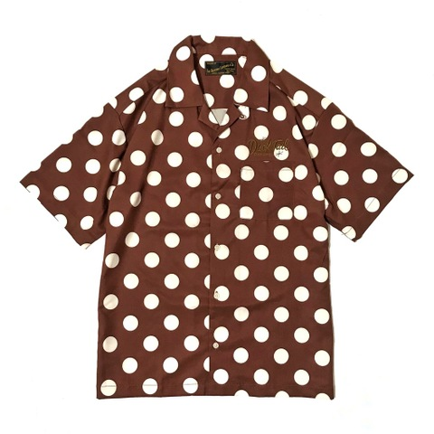 "DUCKTAIL CLOTHING POLKA DOT OPEN COLLAR SHIRT ""VACATION"" BROWN"