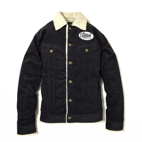 "DUCKTAIL CLOTHING ""RIDER"" CORDUROY BOA JACKET BLACK"