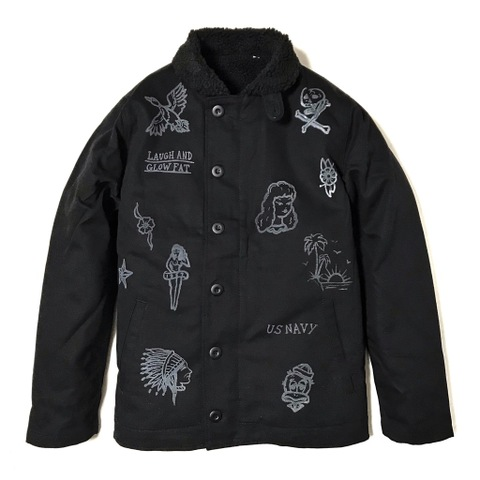 "新作入荷!!DUCKTAIL CLOTHING N-1 DECK JACKET ""LAUGH AND ""GLOW"" FAT"" BLACK"