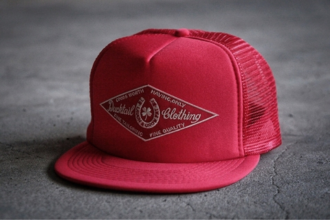 "DUCKTAIL CLOTHING ""HORSESHOE"" TRUCKER CAP RED"