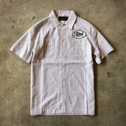 "新作入荷!!DUCKTAIL CLOTHING SHORT SLEEVE STRIPE WORK SHIRT ""TRUCKIN'"" WHITE"