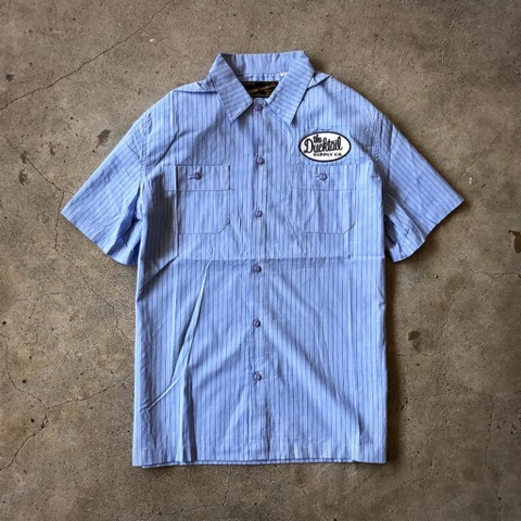 "新作入荷!!DUCKTAIL CLOTHING SHORT SLEEVE STRIPE WORK SHIRT ""TRUCKIN'"" BLUE"