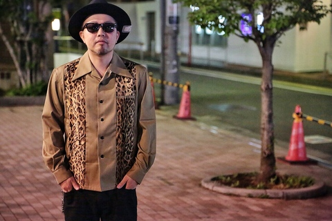"Addiction KUSTOM THE LIFE LONG SLEEVE SHIRT ""LEOPARD SWITCHING OPEN COLLAR SHIRTS"" BEIGE"
