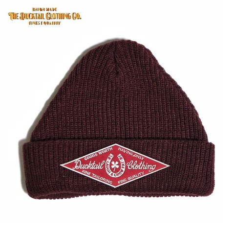 "12月25日再入荷!!DUCKTAIL CLOTHING ""HORSESHOE"" KNIT CAP BURGUNDY"
